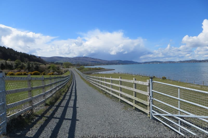 A gravel track for walking and cycling beside a body of water