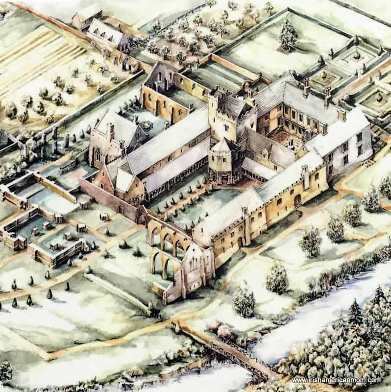 A close up diagram of a medieval monastery
