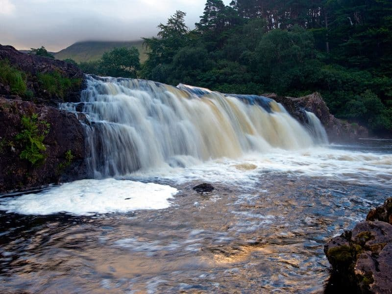 Water cascading over a waterfall in County Mayo Ireland