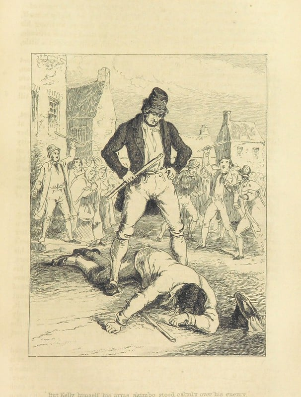 Black an white illustration of an Irish man holding a shillelagh or cudgel standing over his victim