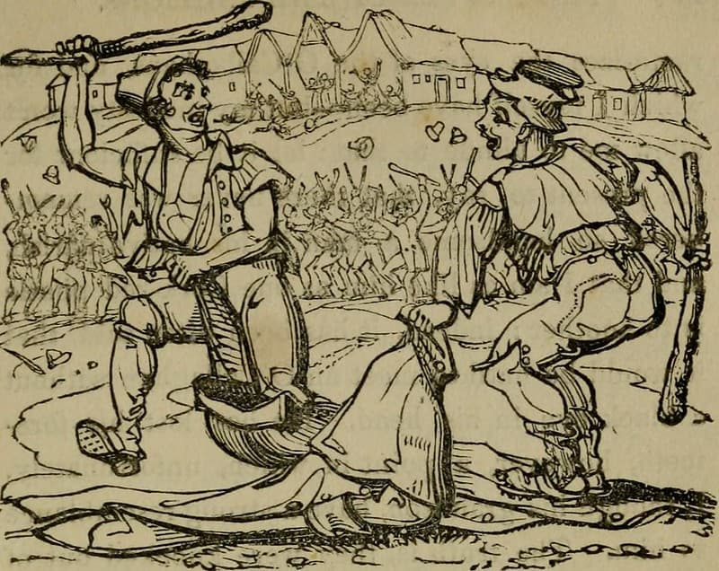 A black and white illustration from an old book about the Irish peasantry