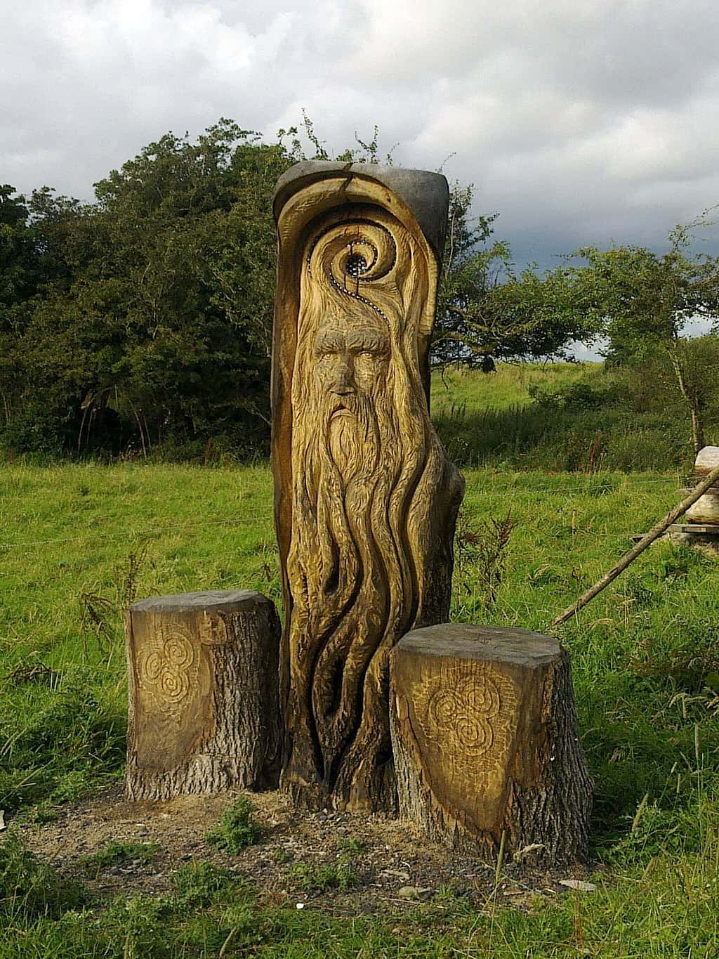 A wood carving of a bearded Celtic God found at the Hill of Uisneach in Ireland