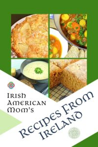 Cover of the free printable book Recipes from Ireland featuring images of Irish apple cake, stew, potato soup and brown bread