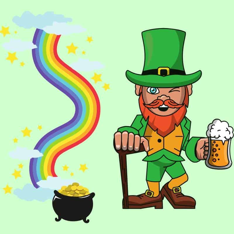 Graphic with a shillelagh wielding beer holding leprechaun beside a rainbow and a pot of gold