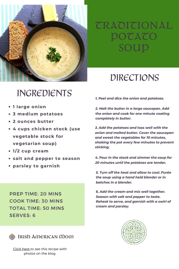 Printable recipe card for traditional Irish potato soup