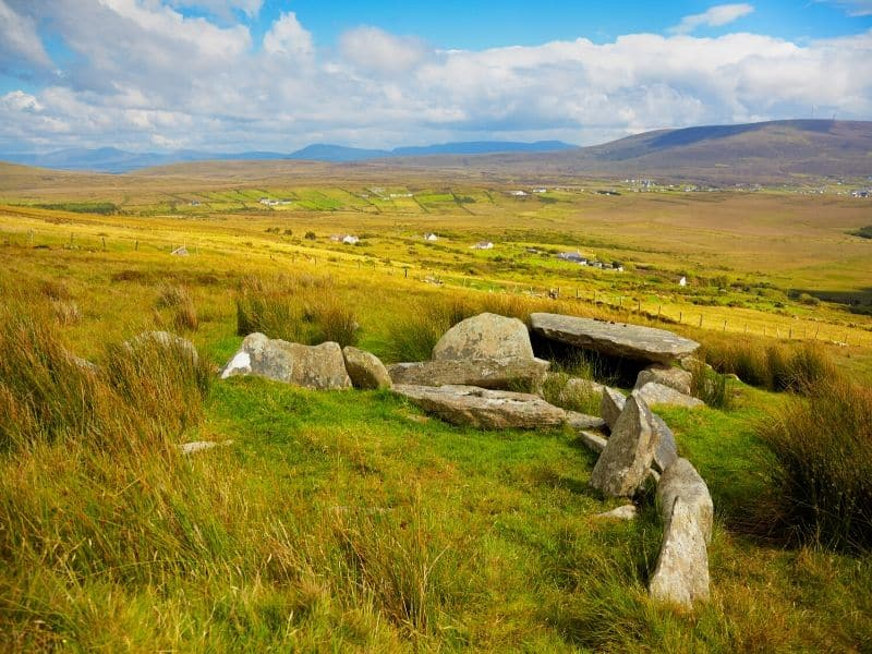 A megalithic dolmen on the side of a hill in the mountains of County Mayo