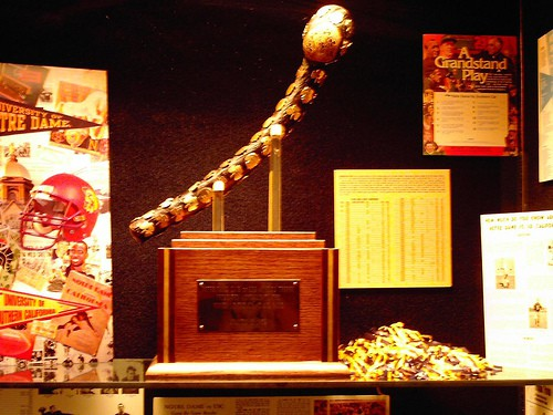 Trophy cabinet showing the Jewelled Shillelagh trophy of Notre Dame