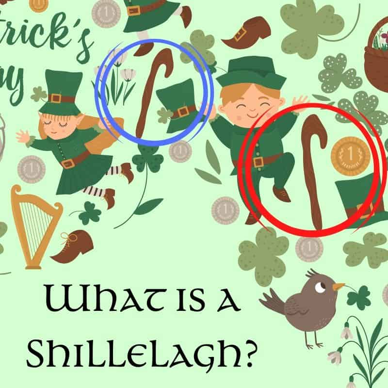 Green Irish graphic asking what is a shillelagh featuring shillelagh, leprechauns, shamrocks and harps
