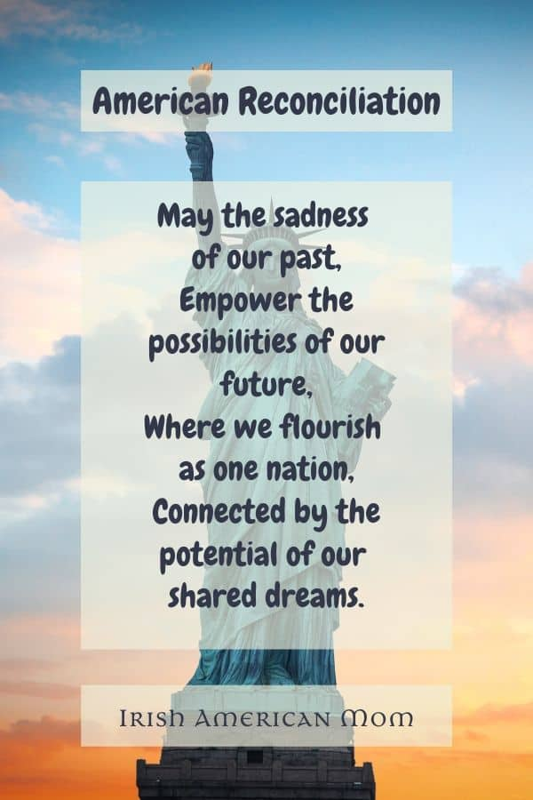 Graphic featuring the Statue of Liberty and a quotation about American Reconciliation
