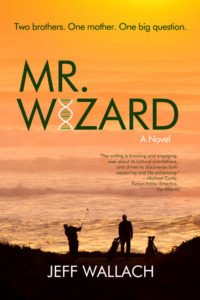 Cover for book Mr Wizard showing dark silhouette of golfers against an orange glowing ocean at sunset