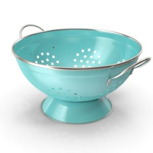 An empty blue colander with metal handles