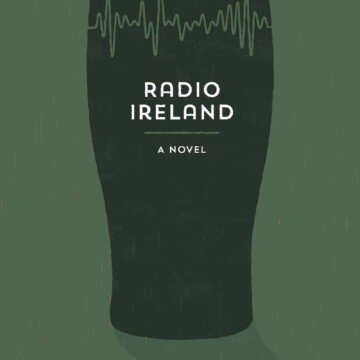A black pint of stout with radio waves as the top of the pint on a green background