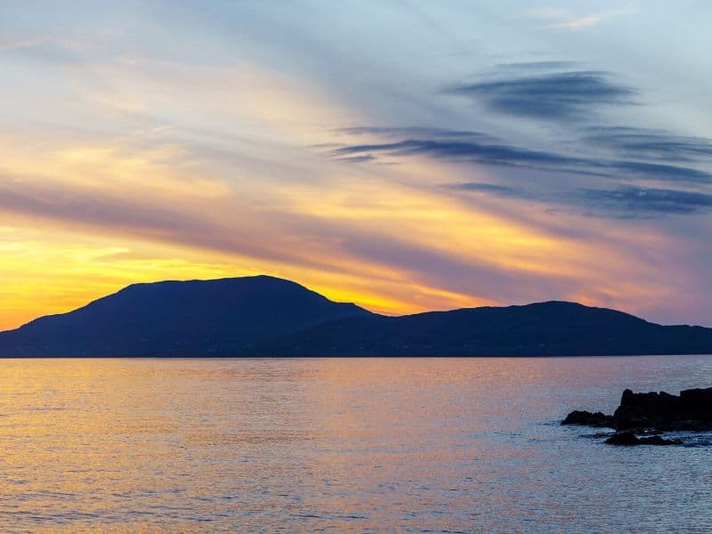 Clare Island at sunset off the coast of County Mayo Ireland