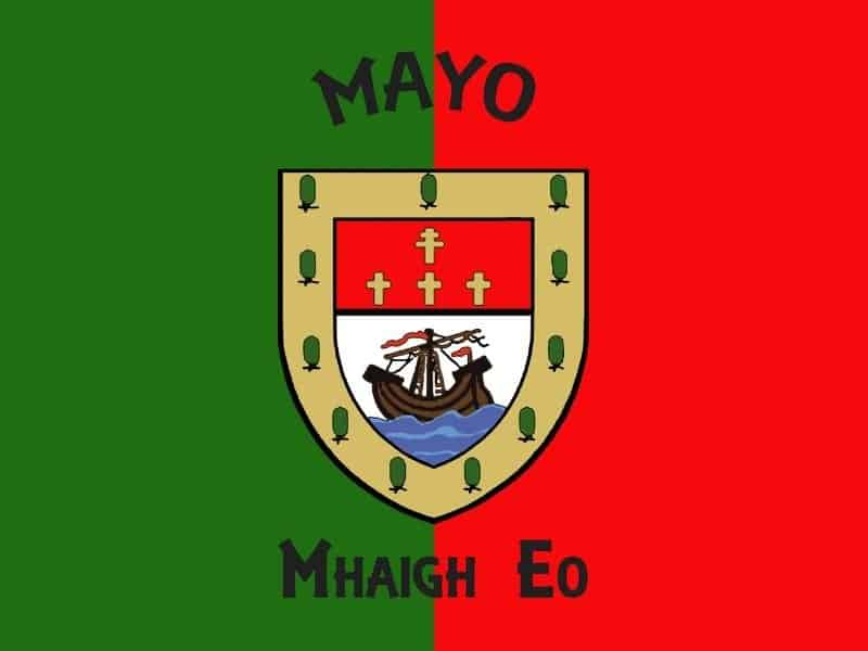 Green and red flag with a crest showing yew trees, crosses and a ship