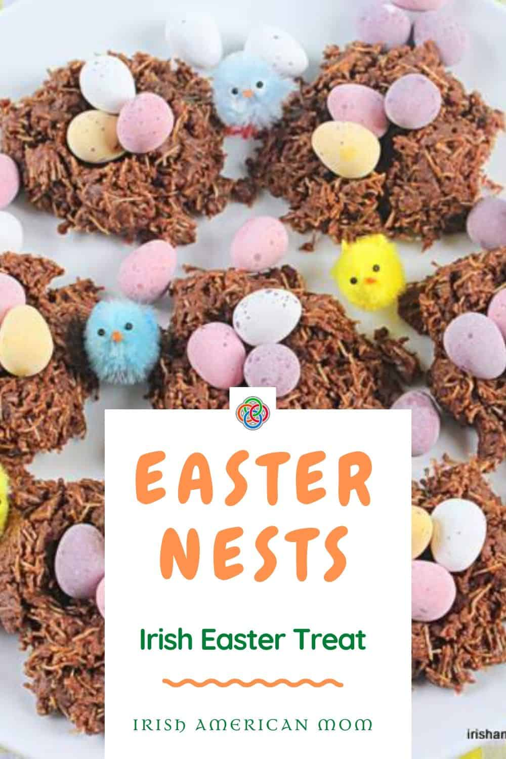 A graphic showing a collection of chocolate Easter nests filled with colorful chocolate mini eggs