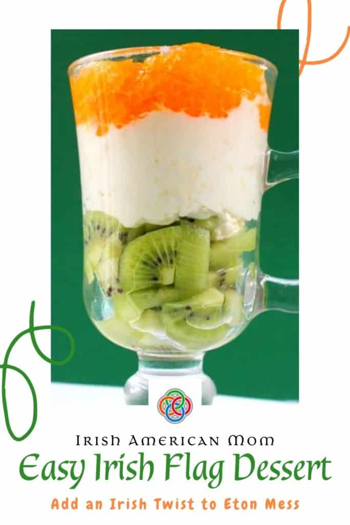 A glass of green, white and orange fruit and cream parfait featured on a white background graphic with decorative swirls