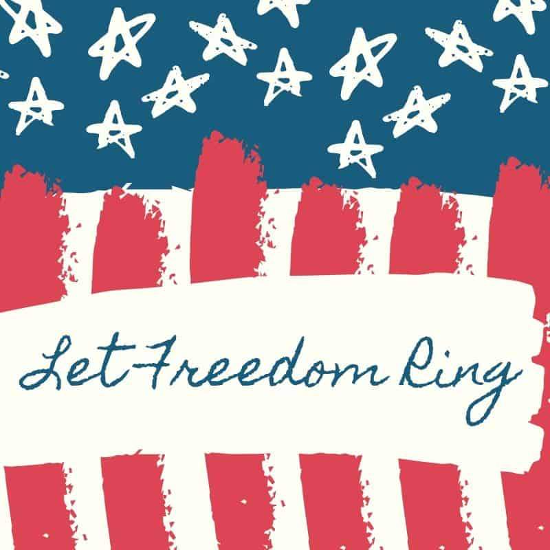 Red, white and blue let freedom ring graphic with stars and stripes