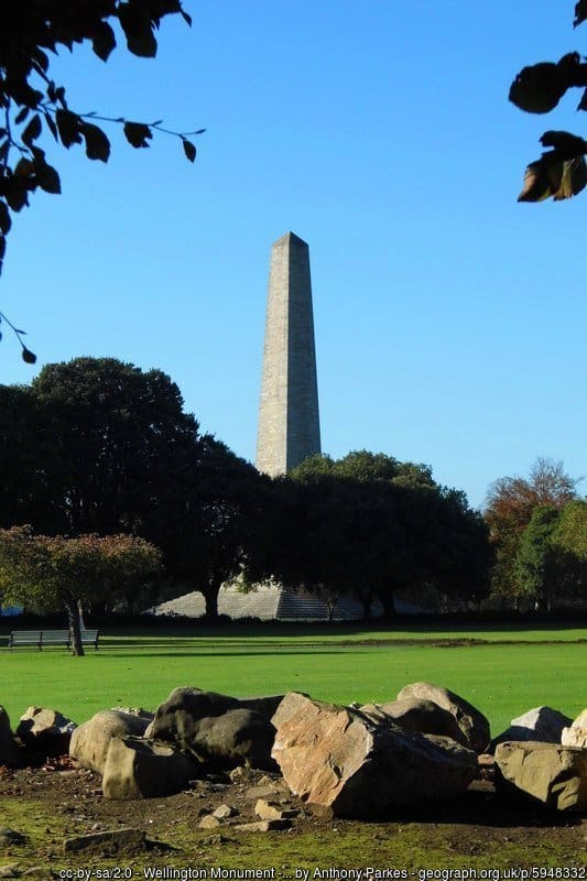 A stone pillar monument surrounded by trees and green grass with a blue sky in Dublin's Phoenix park