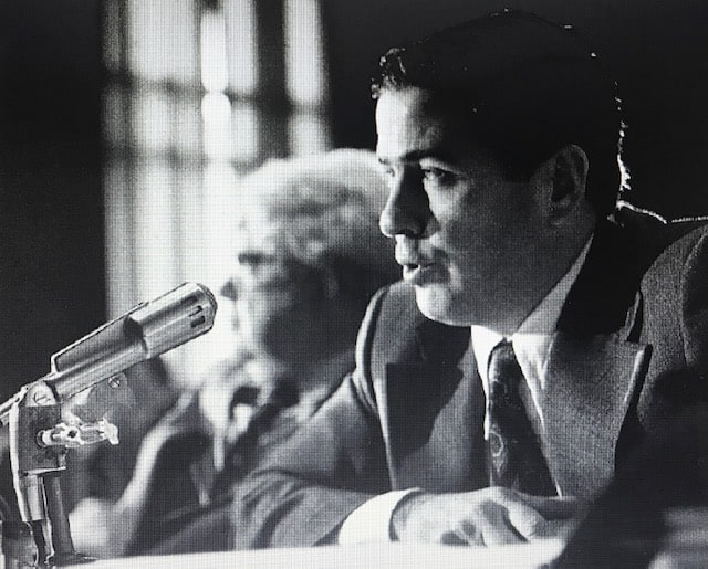 Black and white photo of John Feerick appearing at a congressional hearing
