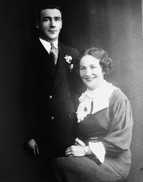 A black and white photo of an Irish American couple