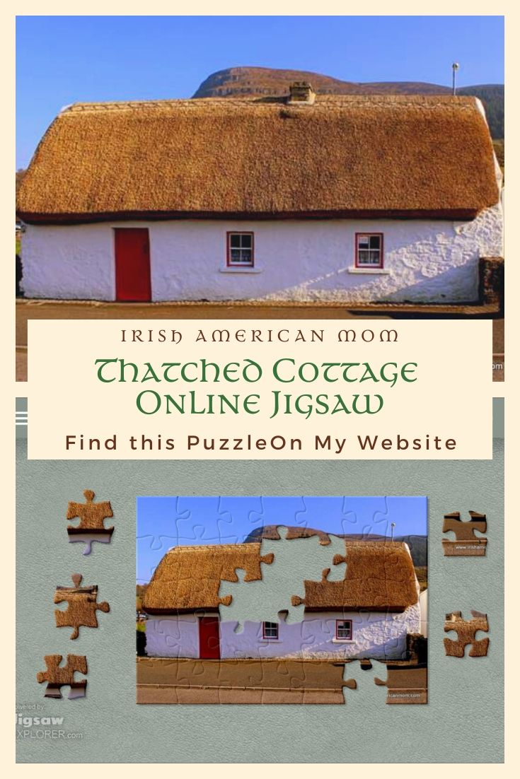 A thatched cottage online jigsaw puzzle featured in a Pinterest graphic