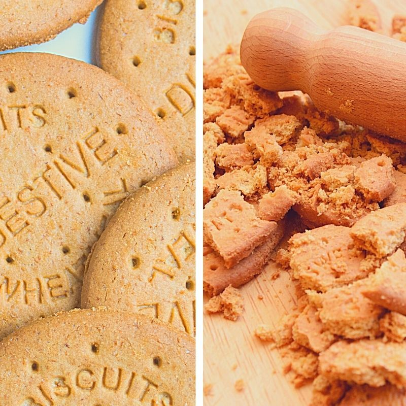 A graphic showing whole digestive biscuits to the left and crumbled biscuits with a rolling pin to the right