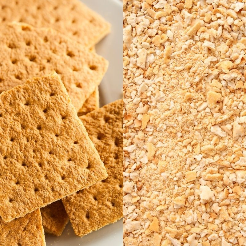 A graphic showing whole graham crackers to the left and crumbled cracker crumbs to the right.