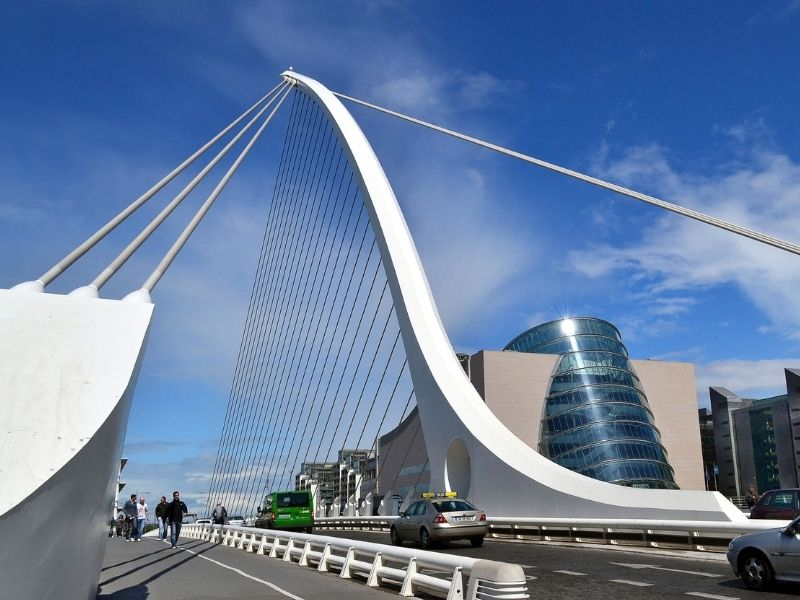 A white bridge resembling a harp in Dublin Ireland