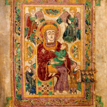 Ornately illustrated picture from the Book of Kells featuring Madonna and child