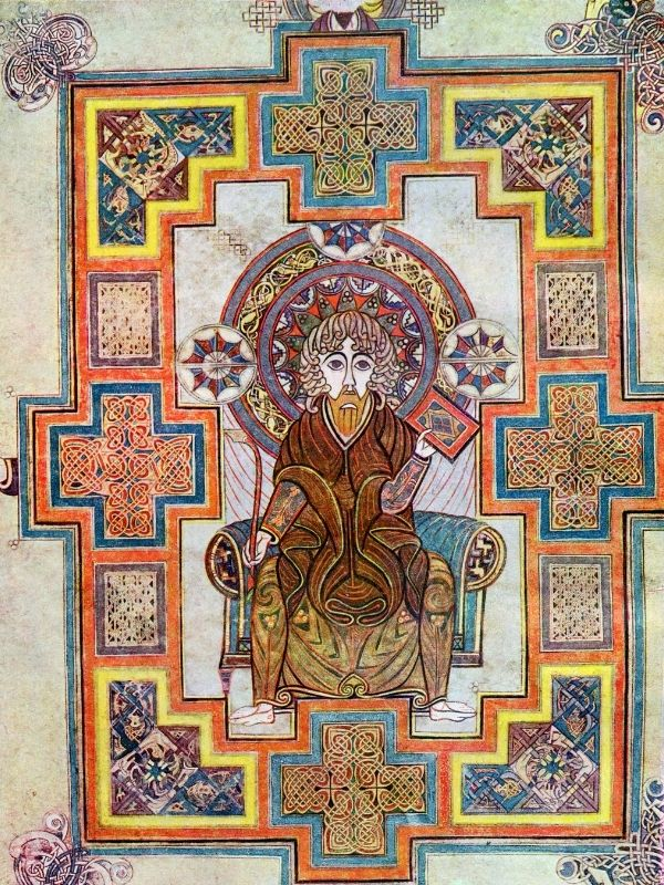 Ornate and decorative medieval illustration of Saint John the Evangelist from the Book of Kells