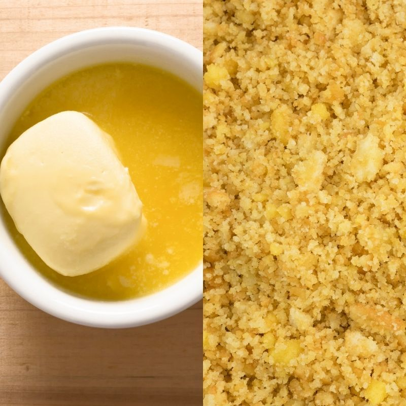 A graphic featuring melted butter in a ramekin beside cracker crumbs moistened with melted butter