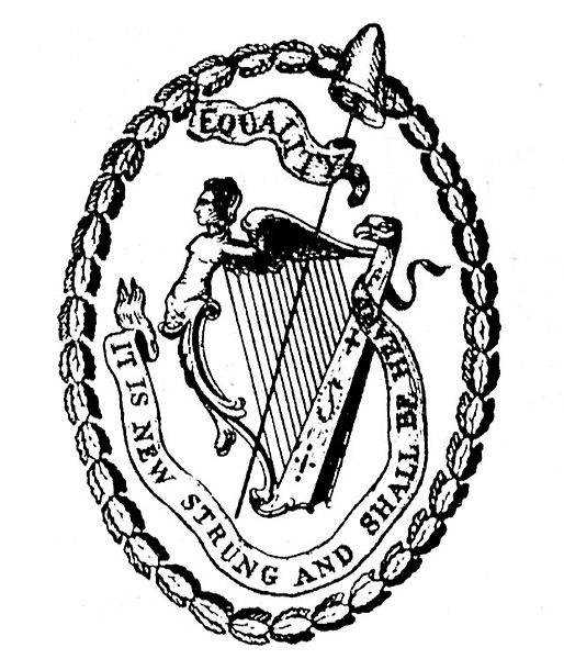 Black and white graphic featuring the seal of the United Irishmen organization with a harp