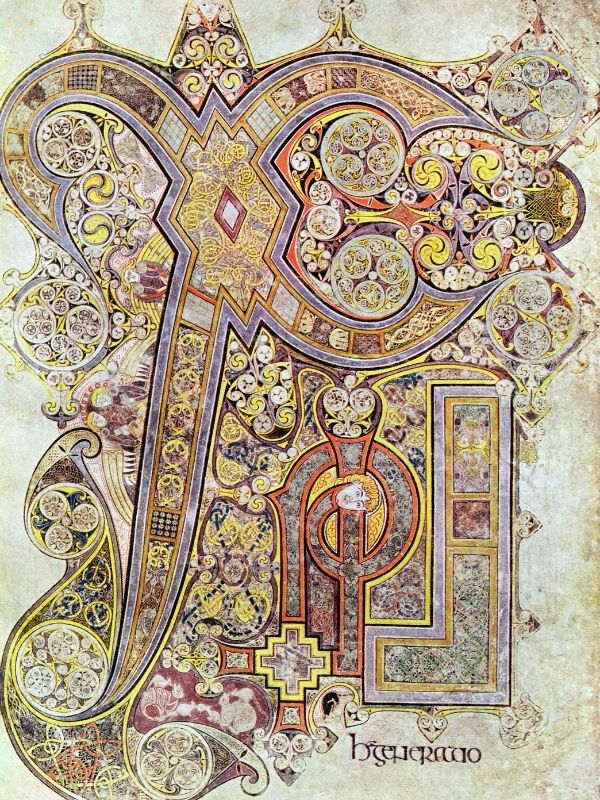 Intricate and ornate calligraphy and insular art from the Book of Kells