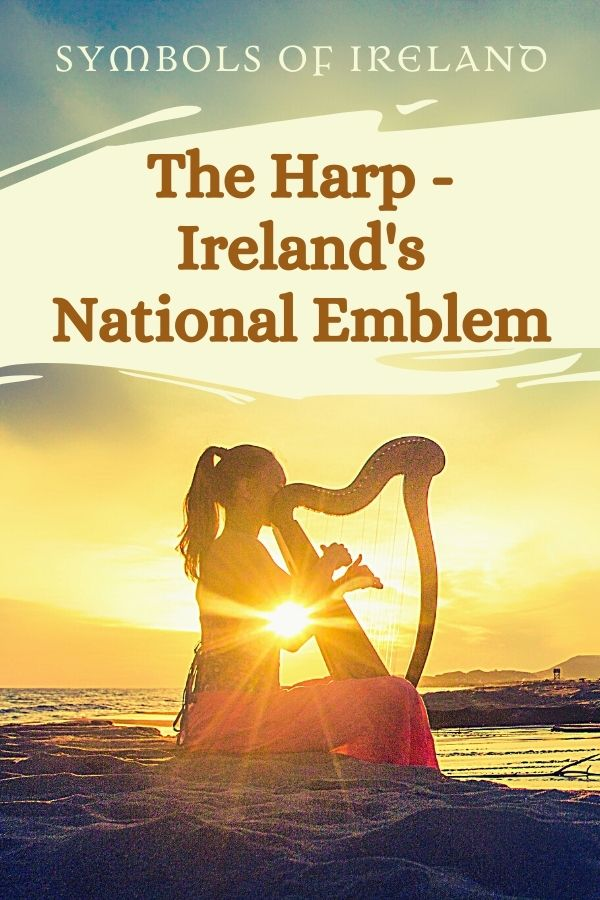 A woman playing a harp on a beach at sunset in a graphic for the harp as Ireland's national emblem
