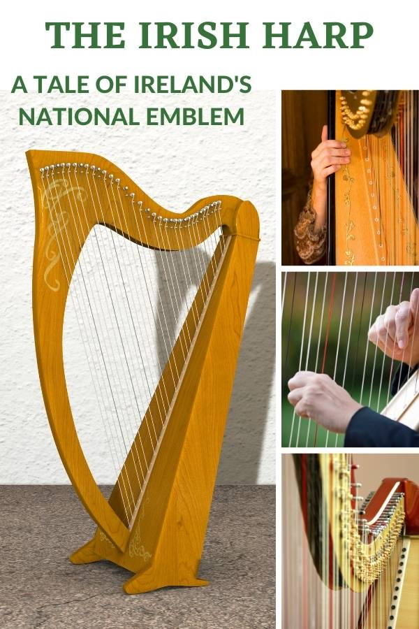 A four picture collage featuring images of the Irish harp