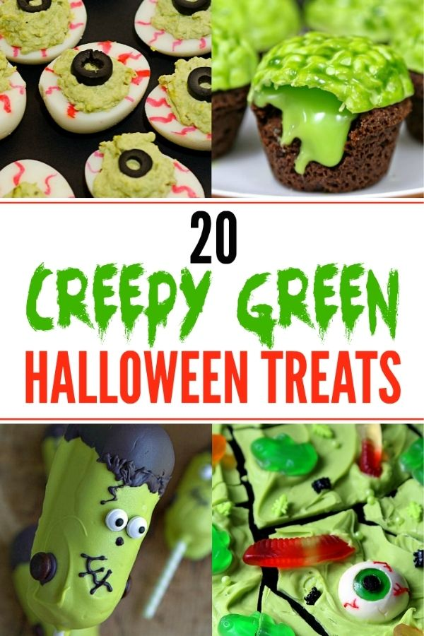 Four photo collage of green Halloween treats with eyeball devilled eggs, green brain cupcakes, Frankenstien cakepops and green witch's brew chocolate bark