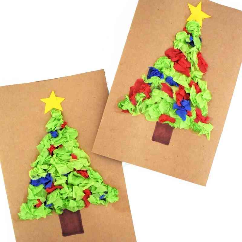 Two homemade Christmas cards featuring crushed paper Christmas trees with yellow stars on brown paper cardstock