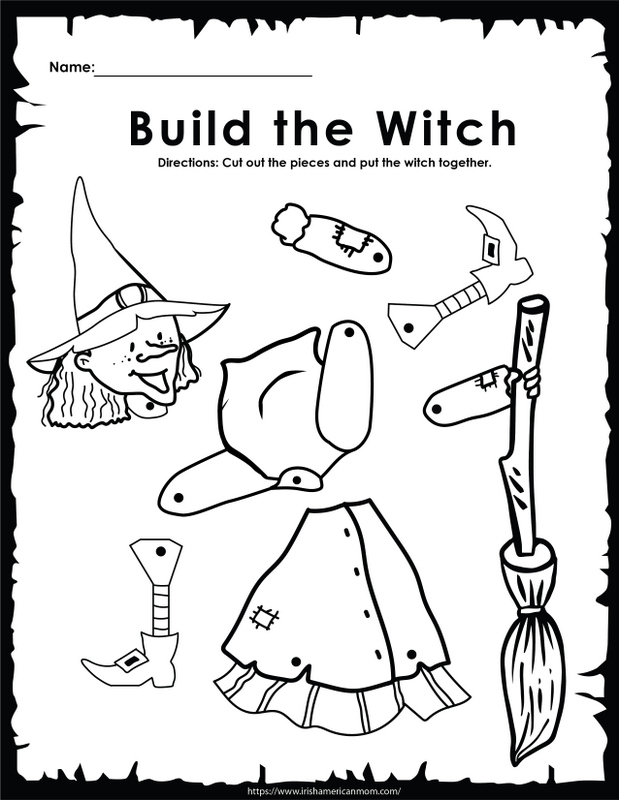 A black and white coloring and cutting printable featuring a witch in many parts together with her broom