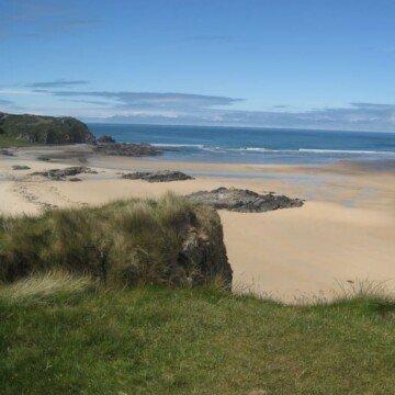 A sandy beach beside grass covered sand dunes