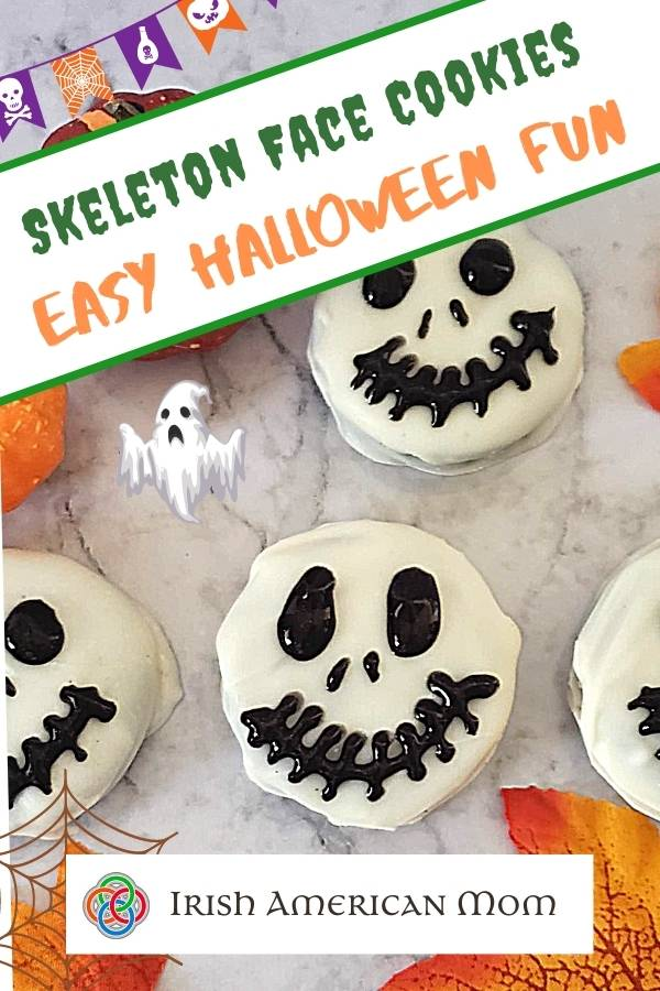 Skeleton face chocolate cookies in a graphic for easy Halloween fun