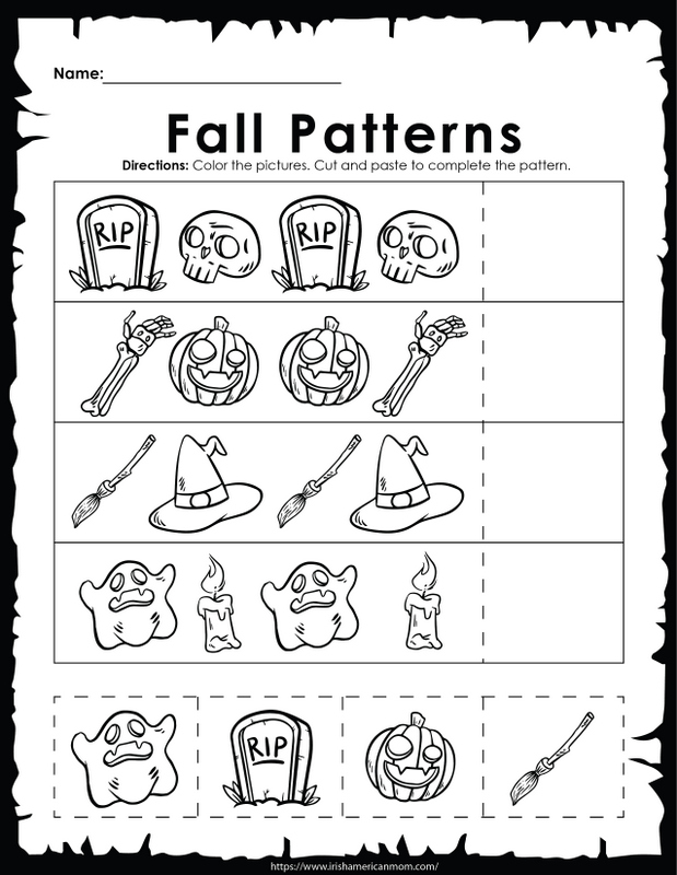 A Halloween inspired fall patterns activity sheet for children and homeschoolers