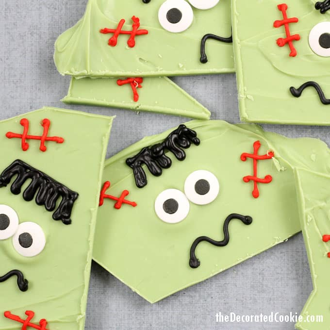Green chocolate bark decorated with eyes for a Frankenstein face