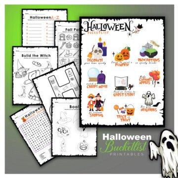 Halloween activity sheets for children featured in a graphic with a green background