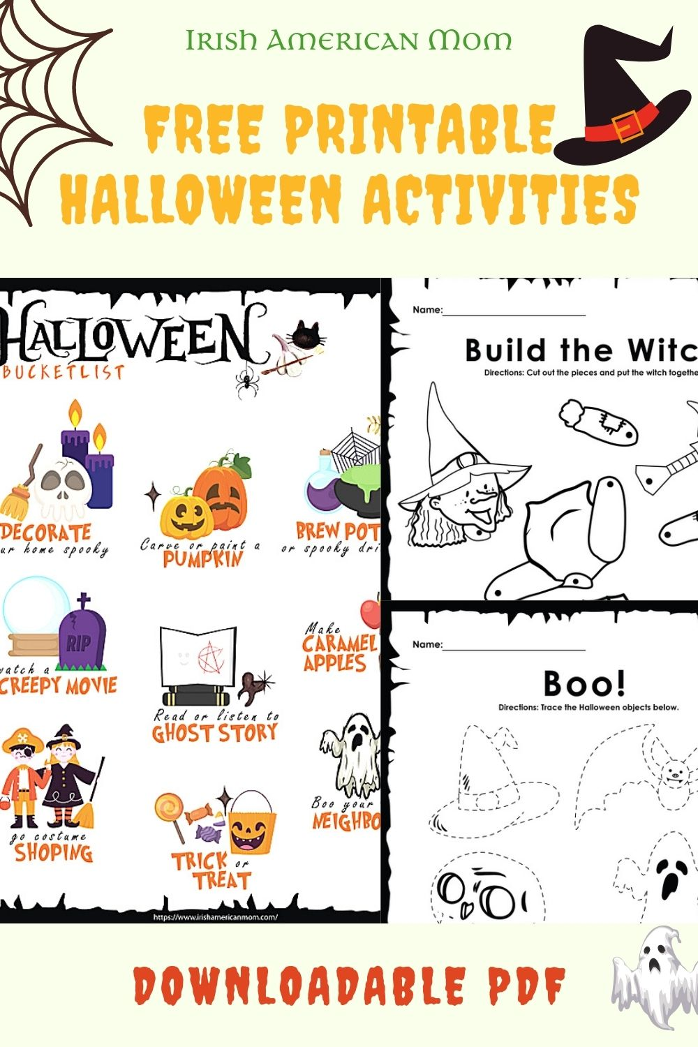 A three photo collage featuring Halloween inspired activity sheets for children