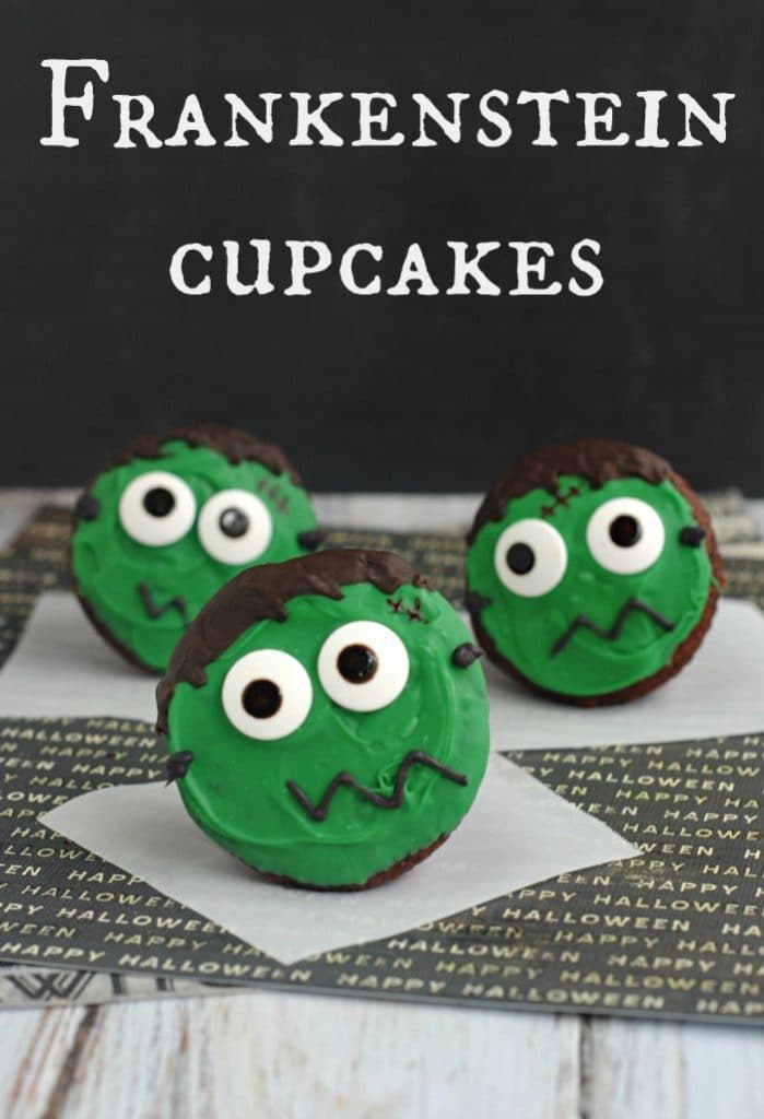 Cupcakes for Halloween decorated with green frosting and Frankenstein eyes