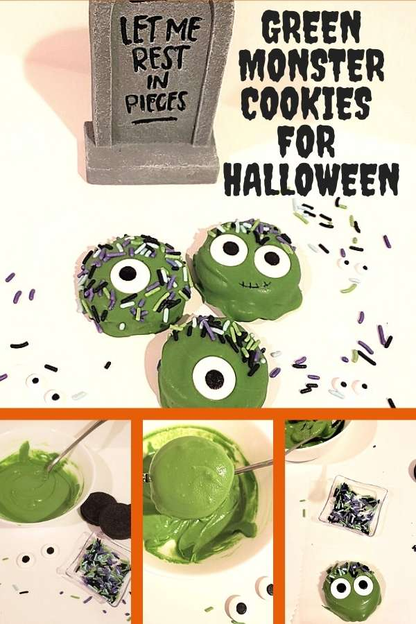 Four photo collage featuring green chocolate covered monster cookies with eyes