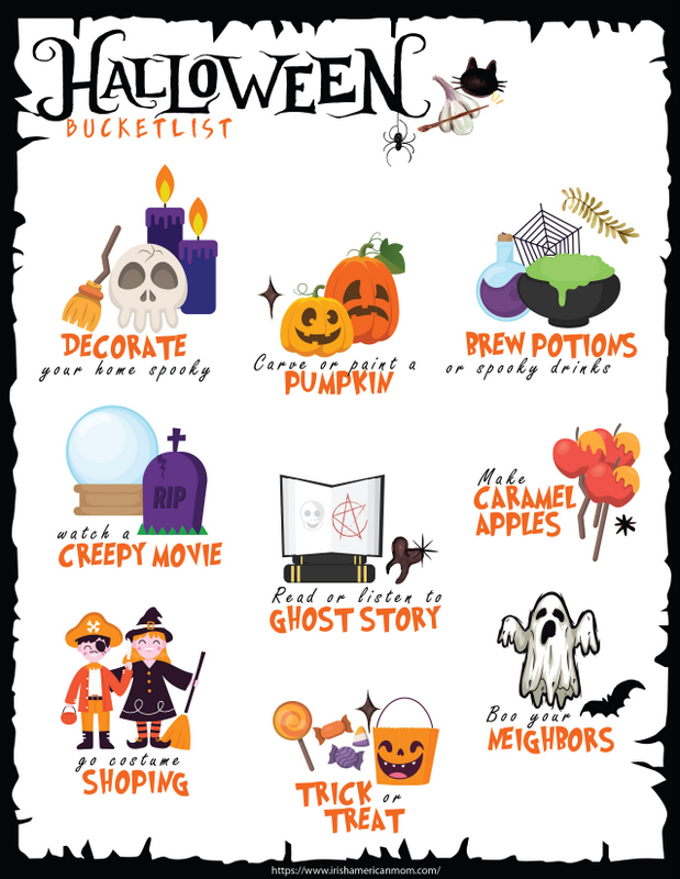 An activity sheet for children featuring things to do to celebrate Halloween