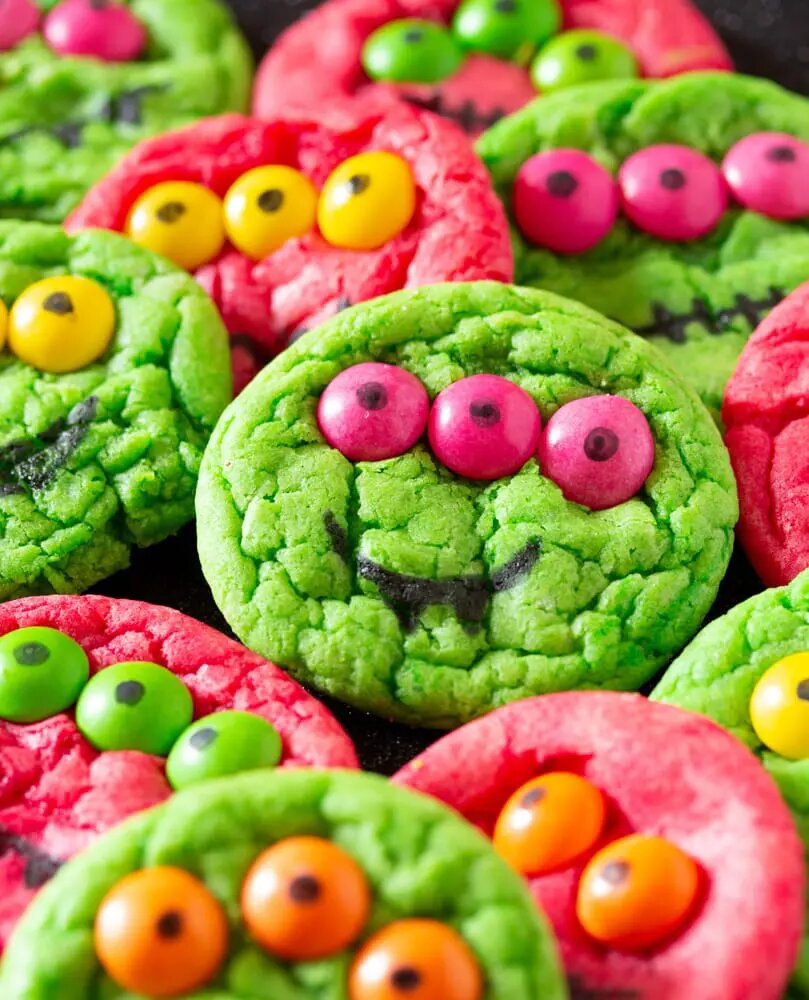 Green and red three eyed monster cookies for Halloween
