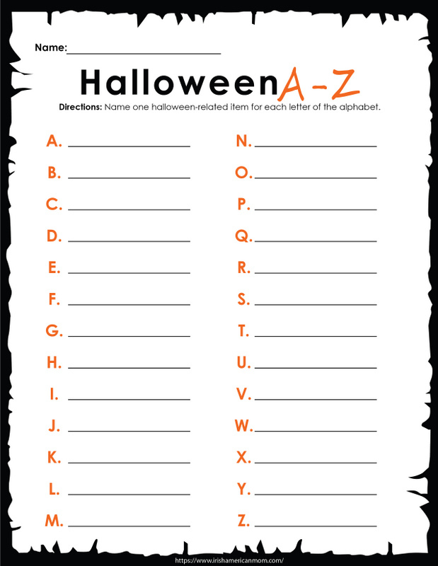 An activity sheet featuring a list of Halloween words from A to Z with blank spaces for the pupil to fill in