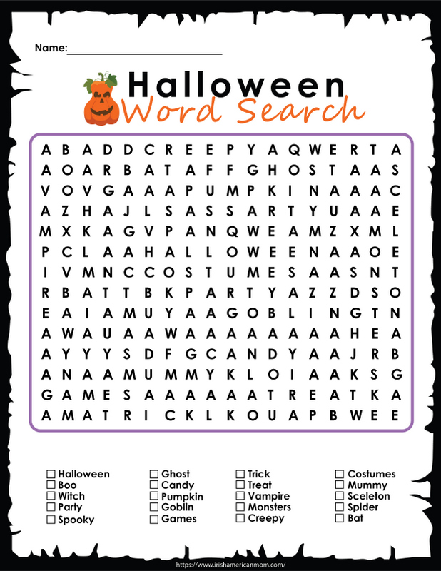 A printable word search featuring words about Halloween